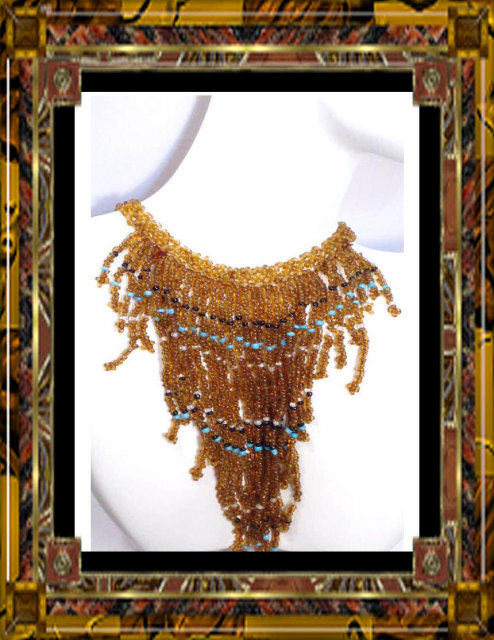 Dripping  GLASS FRINGE fancy exotic necklace