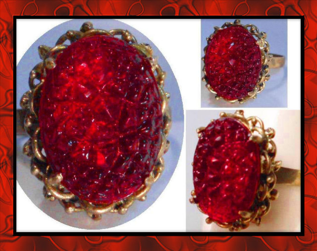 Firey RED czech MOLDED GLASS Vintage RING