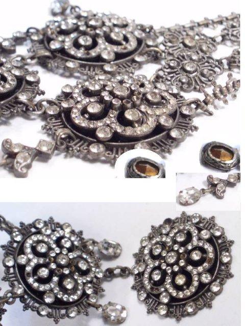 GRAND Vintage VIctorian Necklace with  bookchain Paste brilliants Girandole drops
