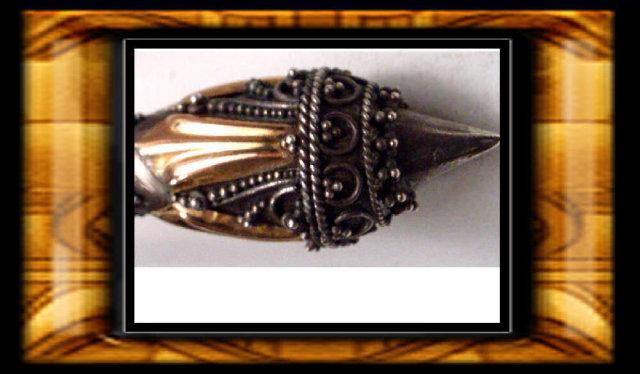 Vintage Rose gold etruscan silver drop earrings