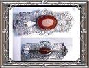 1920's deco Rhodium CARNELIAN Filigree brooch