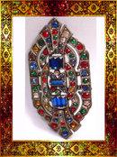 Antique Czech STUNNING deco GLASS Sash PIN