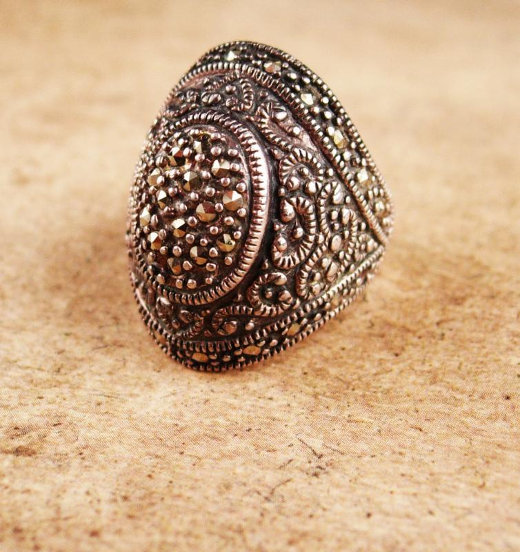 Stunning Renaissance revival Ring / Huge gothic marcasite setting / vintage solid sterling statement ring / spanish victorian / size 5 1/2