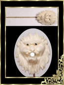 ANtique Victorian carved Ivory genuine gemstone lion head stick pin