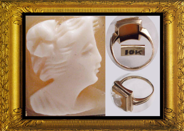 Antique  Neoclassical GOLD shell Cameo RING
