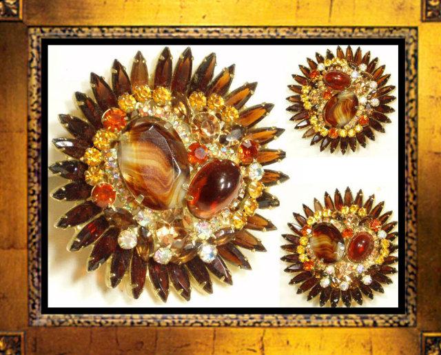 Vintage colorful Glass Rhinestone CLUSTER Brooch