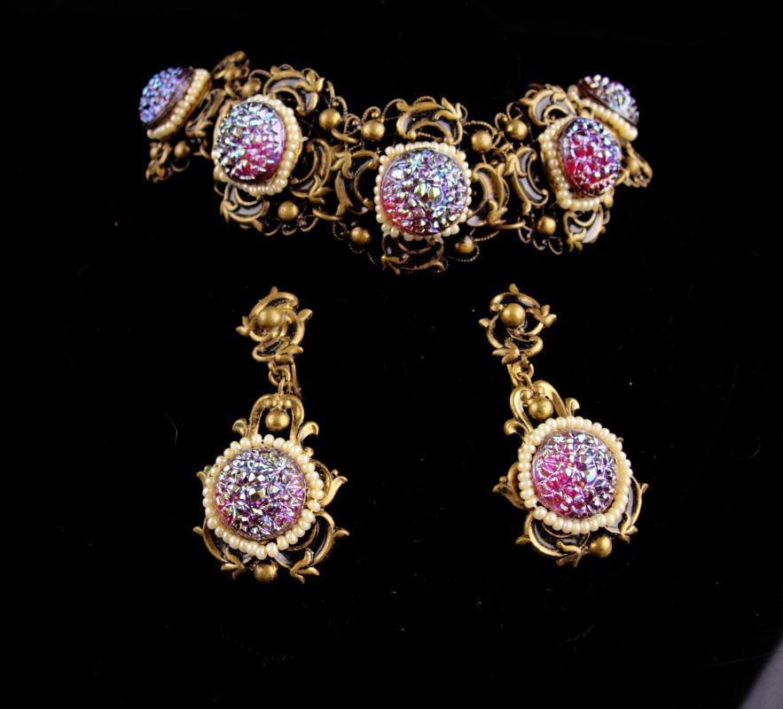 Vintage baroque bracelet - victorian earrings - czech irridescent stones - Signed Queens jewels - demi Parure -purple stones
