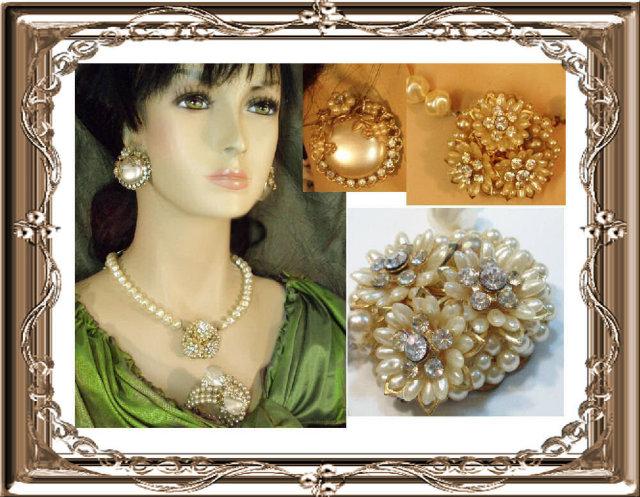 Vintage Dimple Glass Haskell necklace bracelet