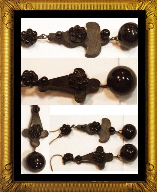 Victorian Gutta percha DROP earrings necklace