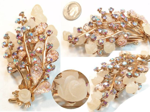 HUGE  frosted glass LAYERED BROOCH
