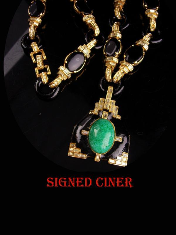Couture Ciner necklace - Vintage signed Asian pendant - LOADED with baguettes - Estate Jewelry