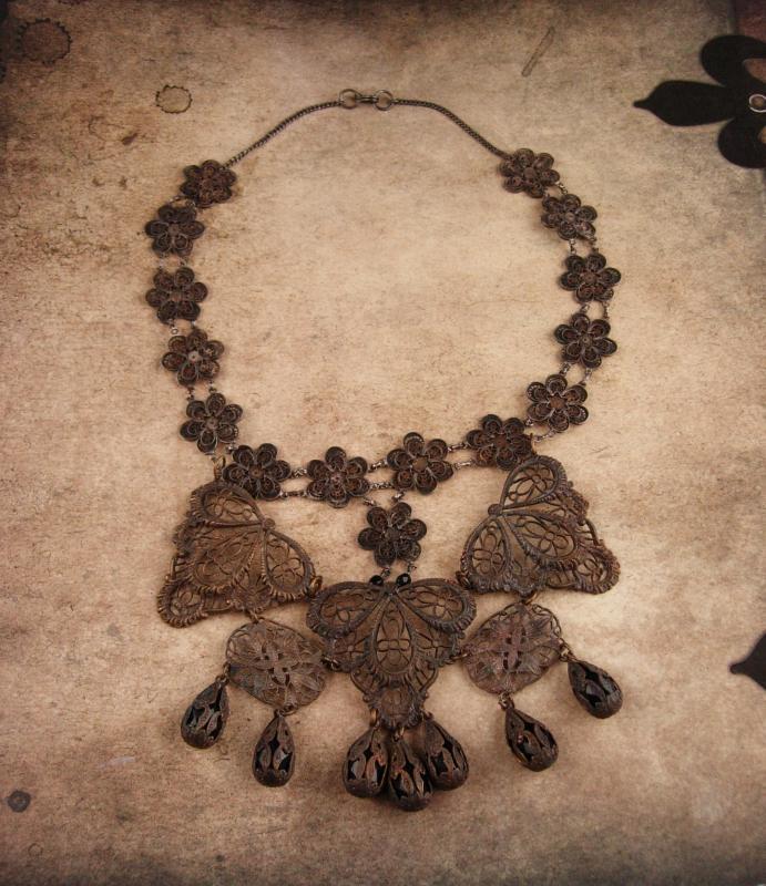 ANtique necklace Rare Georgian SPider Filigree JET Mourning Drop Cut steel