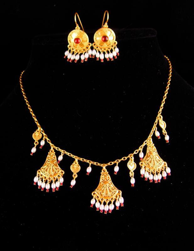 Vintage Signed Byzantine earrings - Ben Amun necklace - deco style golden tassels - Egyptian demi parure- estate jewelry