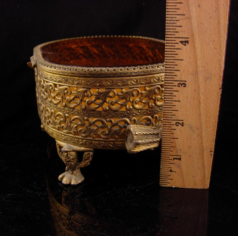 Antique LARGE Amber GLass Ormolu jewelry casket Gold Footed Vanity Box accessory