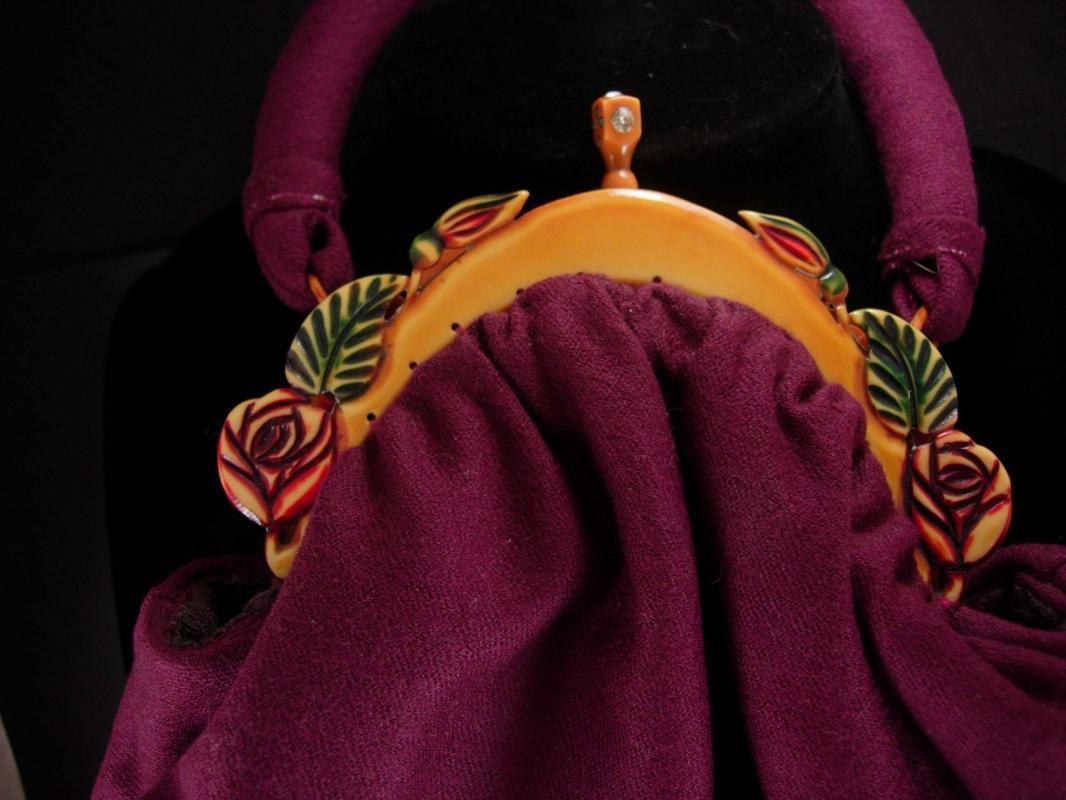 Gorgeous Vintage Bakelite catalin Purse multi colored Jeweled clasp aubergine wool
