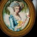 Signed Antique Portrait 18th century Marie Antoinette Painting Miniature Framed Hand Painted victorian woman