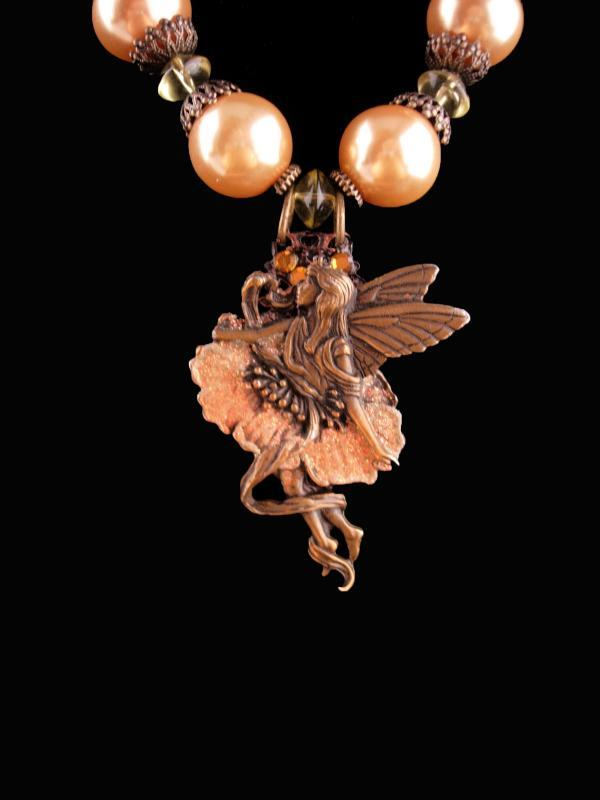 Mystical Nymph Necklace - huge baroque pearls - winged fairy glittery pendant - statement necklace - assemblage jewelry
