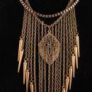 Flapper Fringe necklace - Chandelier bib - Rhinestone medieval choker - black rosary cross - gothic jewelry - statement necklace