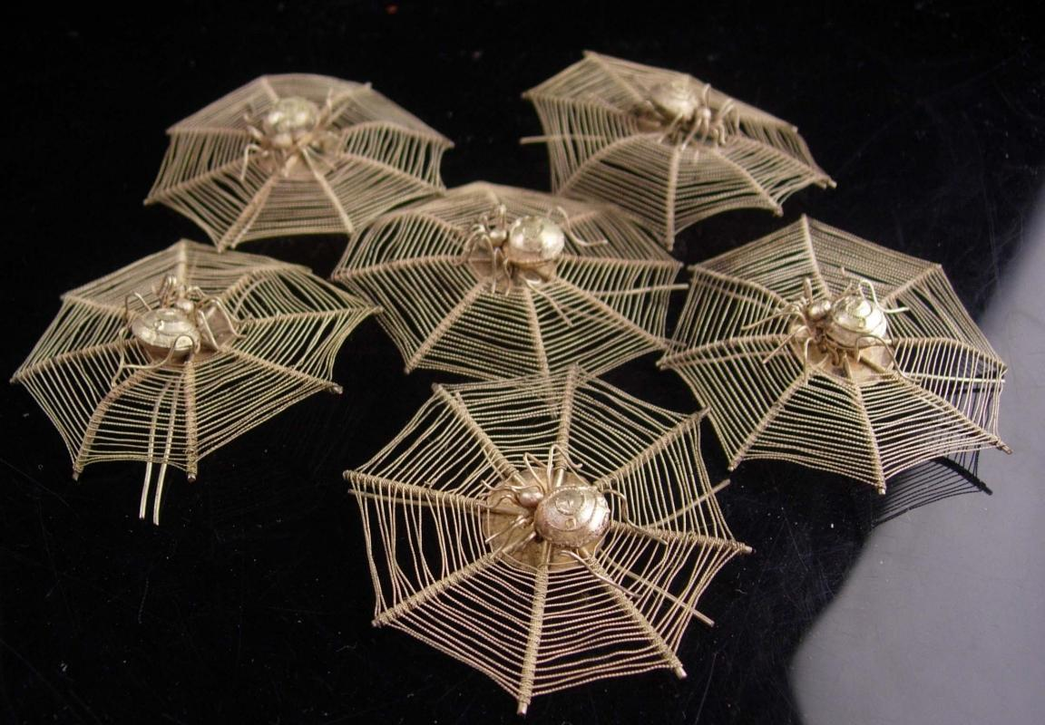 ANTIQUE hair ornaments Ming Dynasty Aesthetic Sterling Spider hair jewelry or Place Card Holders Spider pins