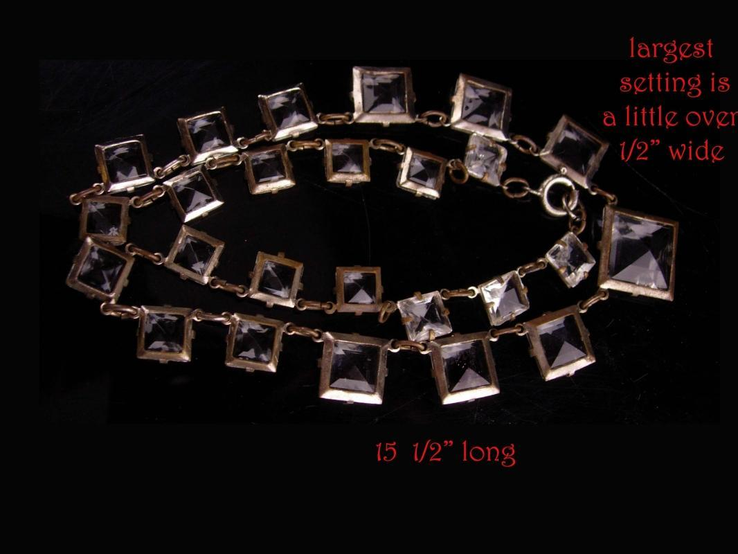 1920s Art deco necklace - Antique Rock Crystal Choker - signed choker - Open Back Bezel Set - vintage glass necklace