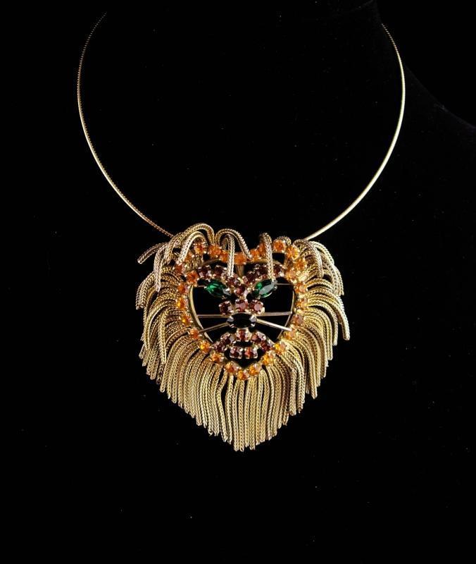 Exotic Lion necklace - vintage brooch - tassel mane - unsigned beauty - gold hoop choker