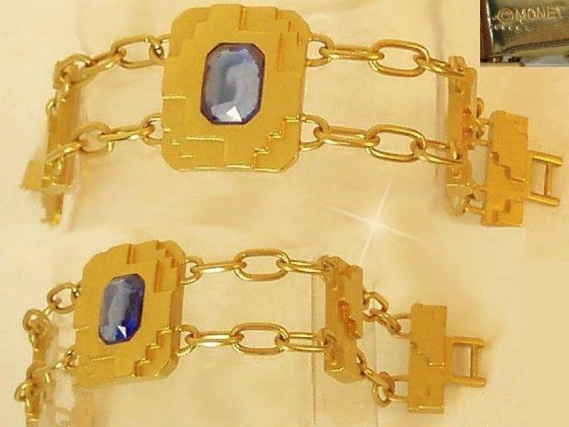 Signed Deco style Rhinestone Glam BRacelet