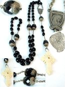 fancy Antique Jet Stanhope Rosary Guadalupe