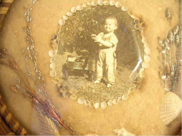 Vintage Child Whimsey folk art Momento framed