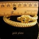 Vintage Snake Parure Bracelet necklace Brooch Turquoise rhinestone eyes gold filled coil wrap cuff Egyptian goddess
