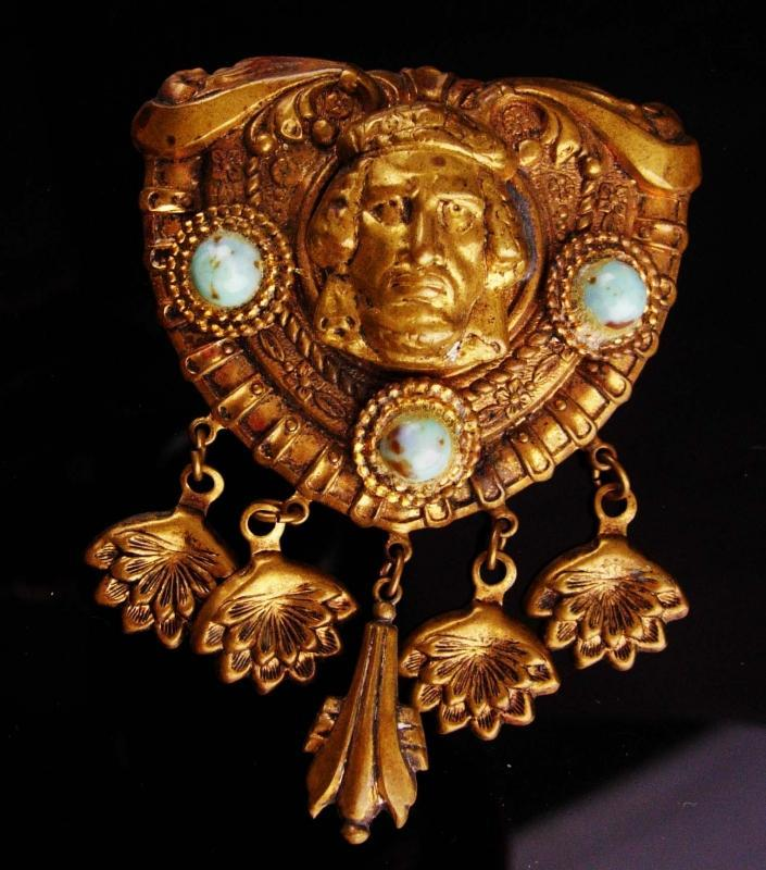 Vintage ART deco Brooch - LARGE  Egyptian Revival pin - figural chandelier drops - Thief of baghdad