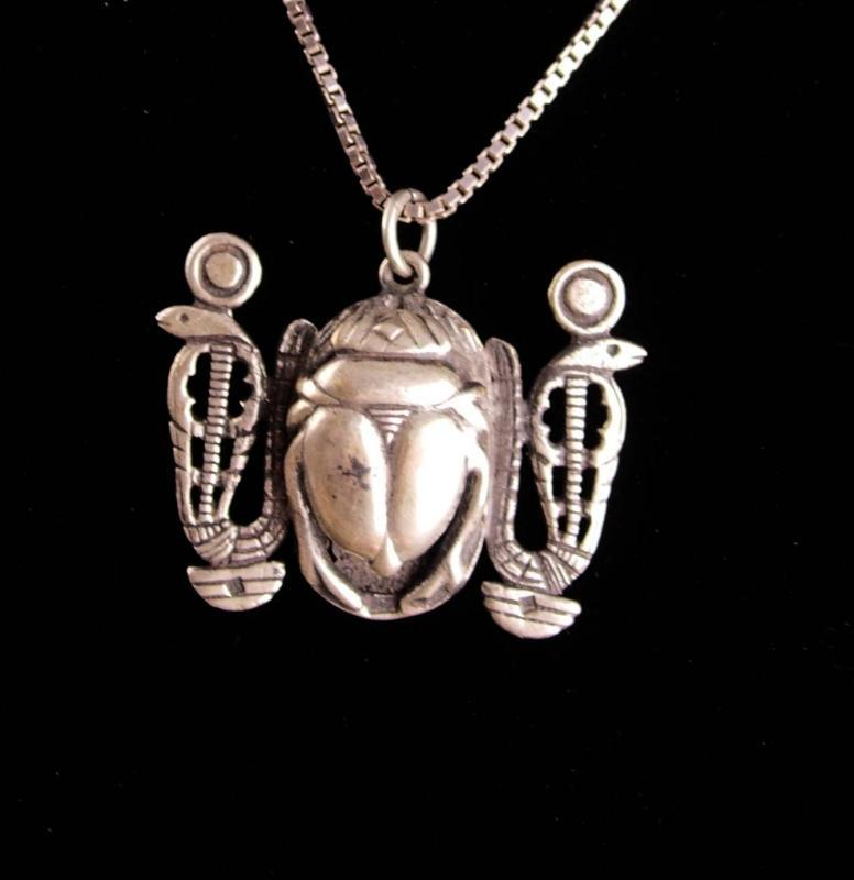 BIG Vintage Hallmarked Scarab Snake necklace - Sterling Egyptian revival chain - Detailed back touch marks on front