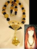 Huge Glass enamel Figural Nouveau necklace