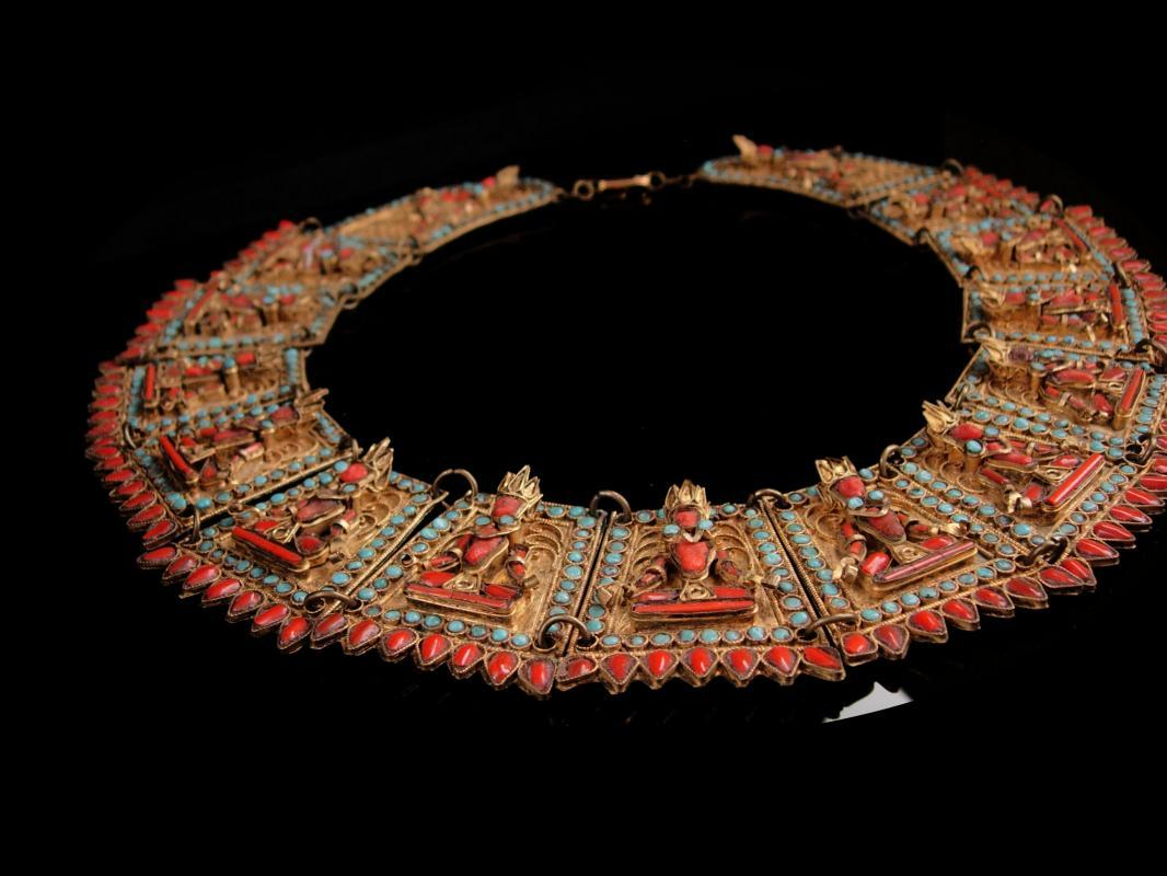 Antique buddha necklace - Huge Primitive Egyptian Revival - vintage Goddess wedding  Collar - statement jewelry Collar Newari  Kathmandu, Nepal