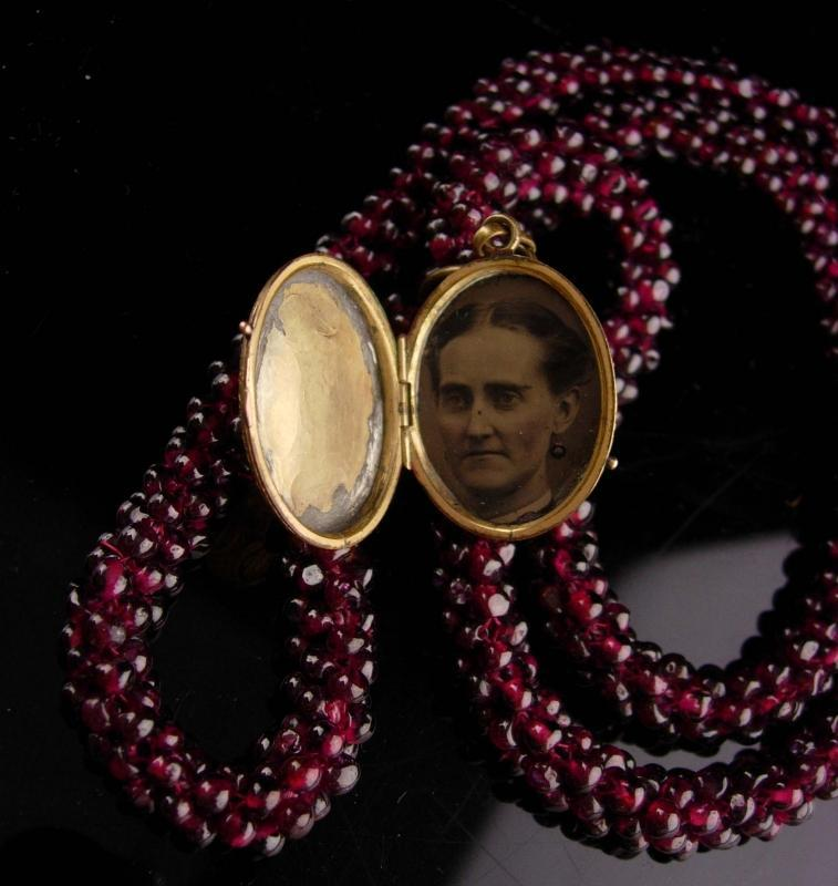 Rose gold filled locket on victorian necklace loaded with genuine garnets antique tintype photo