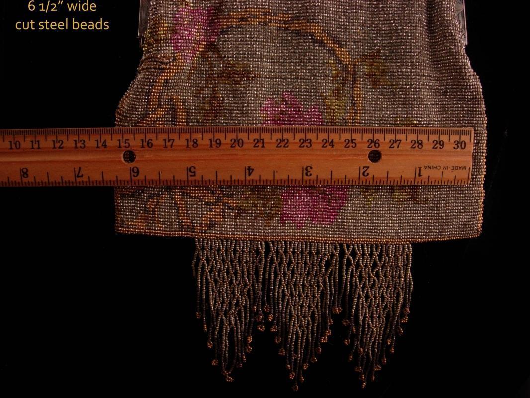 Antique  French cut steel  Fringe Rose purse -Silver Flapper handbag - vintage mesh -  Art deco fringe
