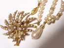 SIgned Florenza Edwardian style Pearl Brooch and Pearl rhinestone drop necklace