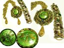 GO Green Gorgeously Drama Queen HUGE jeweled Dragonfly necklace and bracelet