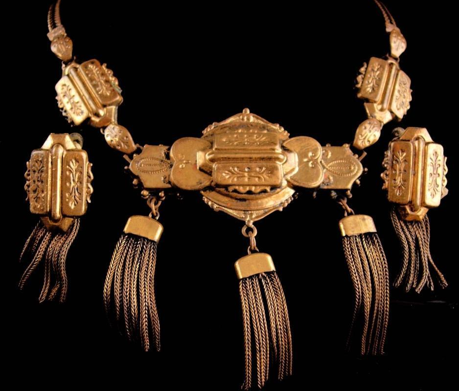 1890's VIctorian Buckle bracelet tassel necklace and tassle earrings PARURE