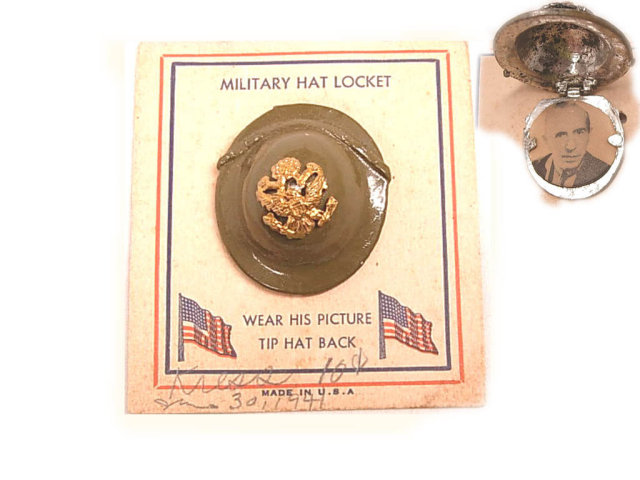 RARE enamel Military Hat helmet locket BRooch and ORIGINAL CARD