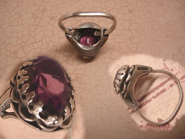 Antique 2ct Victorian amethyst sterling ornate RING