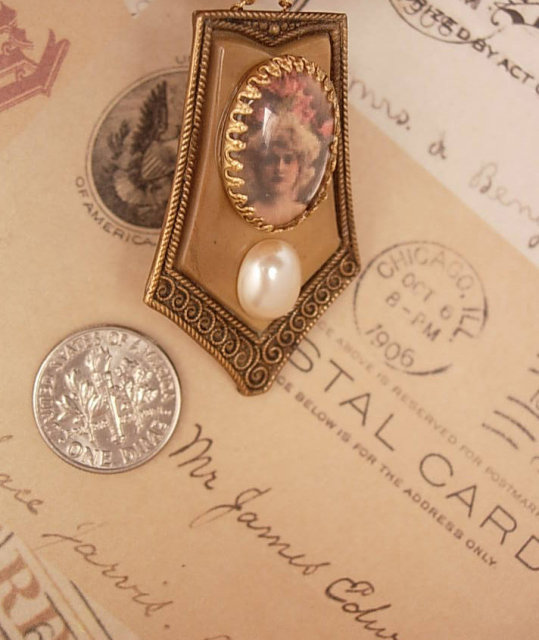 Vintage Portrait necklace assemblage celluloid and pearl pendant