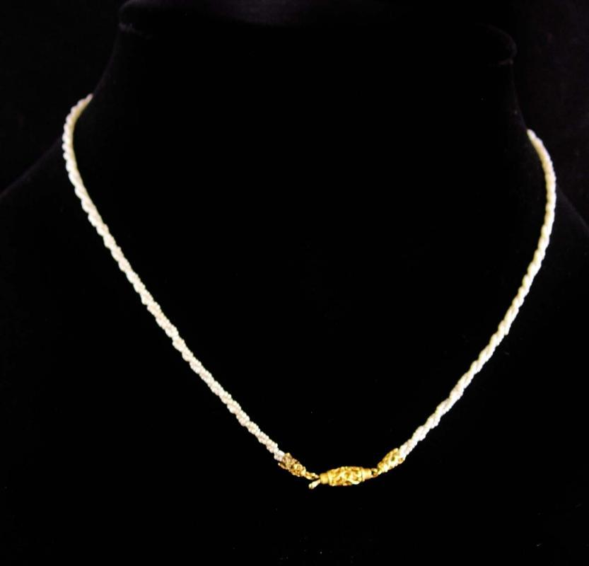 1800s GEORGIAN 14KT GOLD 900 Pearl necklace in original box antique Jewelry wedding gift