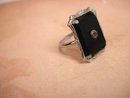 Vintage 1920s Art Deco Onyx and Paste large setting ring