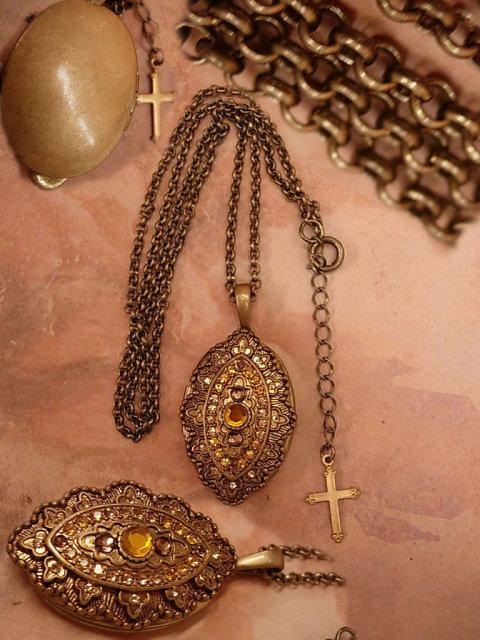 Vintage religious jeweled Gothic locket NEcklace