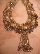 Vintage Baroque Collar necklace HUGe Filigree beads and tassels and rhinestones