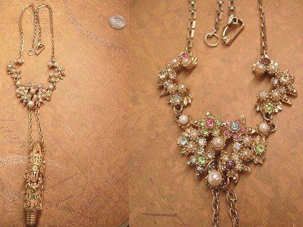 Baroque Mucha Nouveau woman hidden compartment jeweled pendant necklace