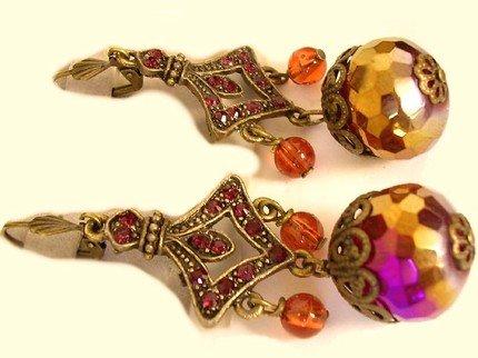 Huge FIREBALL Crystal Gypsy Ruby glass BIg Drop earrings