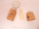 Antique carved Wood Thimble case with religious icon