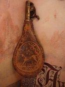 Antique Leather Dog black Powder Flask Horn