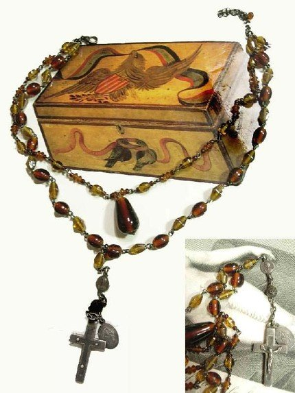 1920's sterling rosary cross on tiered amber glass swags choker necklace